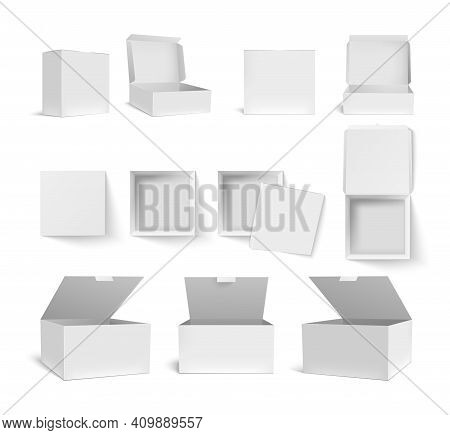 Box Packaging. Blank White And Black Product Package In 3d Templates. Paper Packs For Cosmetic, Medi