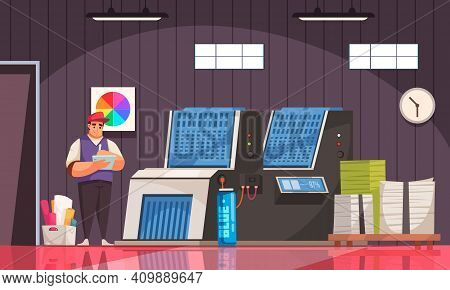 Polygraphy Equipment Printer Printed Paper Stacks And Worker In Uniform Cartoon Vector Illustration