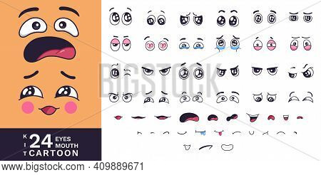 Cartoon Faces Kit. Funny Characters Eyes And Mouths With Various Expressions. Love And Fear, Angry A