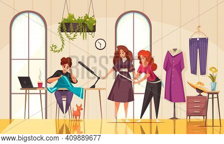 Friendly Seamstresses Measuring Woman For Clothes And Sewing In Modern Atelier Cartoon Vector Illust