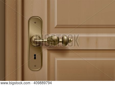 Door Knobs Handles Realistic Composition With Closeup View Of Door With Ornate Handle And Key Hole V