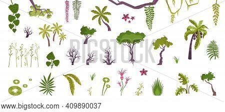 Plants Set With Flat Isolated Icons Of Jungle Flowers Trees And Bushes With Lianas And Moss Vector I