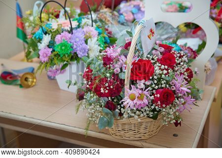 Colorful Flowers . Colorful Flower Baskets . Flowers Given To The Teacher On The School Day Are On T