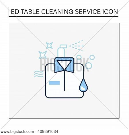 Dry Cleaning Line Icon. Laundry Service. Ironing. Washer. Using Chemical Solvent With Water. Cleanin
