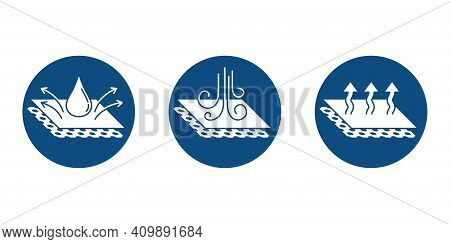 Textile Properties Or Other Layered Materials Pictograms - Breathable, Waterproof And Windstopper -
