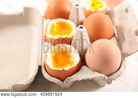 close up on boiled egg in box