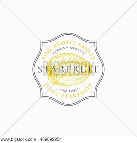 Starfruit Purveyors Frame Badge Or Logo Template. Hand Drawn Fruit Sketch With Retro Typography And