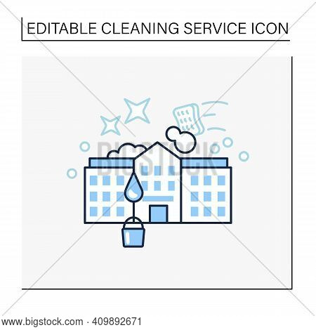 School Cleaning Line Icon. Cleanup Rooms. Classroom Disinfection. Safety Space And Preventative Meas
