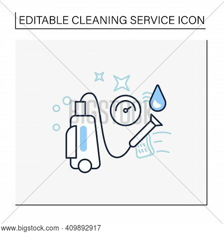 Pressure Washing Line Icon. Power Washing. Hydro-jet Cleaning. High-pressure Water Spray Usage To Re