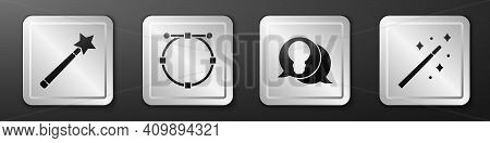 Set Magic Wand, Circle With Bezier Curve, Light Bulb With Concept Of Idea And Magic Wand Icon. Silve