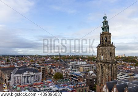 Groningen, The Netherlands - 18 Oct, 2020: Aerial View Over The Inner City Of Groningen With The Cit