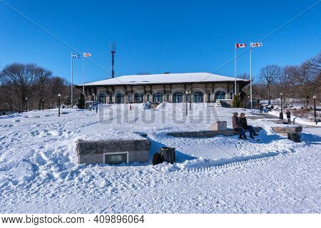 Montreal, Ca - 4 February 2021: Mont-royal Chalet Located Near The Summit Of Mount Royal In Montreal
