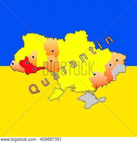 Coronavirus Map Regions Of Ukraine . New Quarantine Zones Of Ukraine. Adaptive Quarantine.quarantine