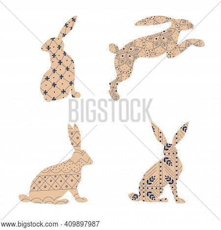 Beige Rabbit Silhouette Set With Elements In Scandinavian Folk Style. Hare With Ornament. Vector Ill
