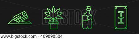Set Line Bong For Smoking Marijuana, Cocaine And Credit Card, Marijuana Or Cannabis Plant In Pot And