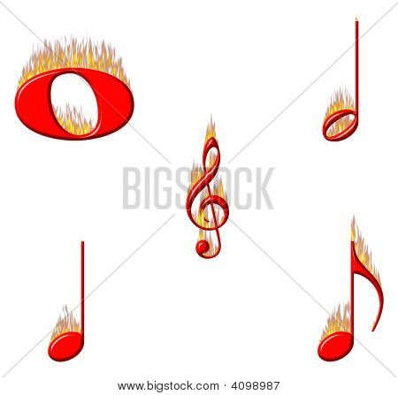 Music Notes On Fire