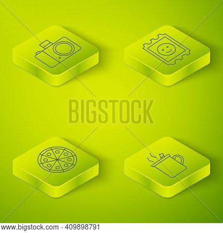 Set Isometric Lsd Acid Mark, Pizza, Mulled Wine And Photo Camera Icon. Vector
