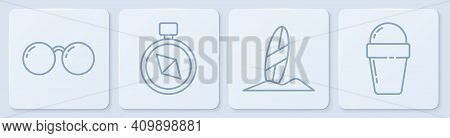 Set Line Glasses, Surfboard, Compass And Ice Cream In Waffle Cone. White Square Button. Vector