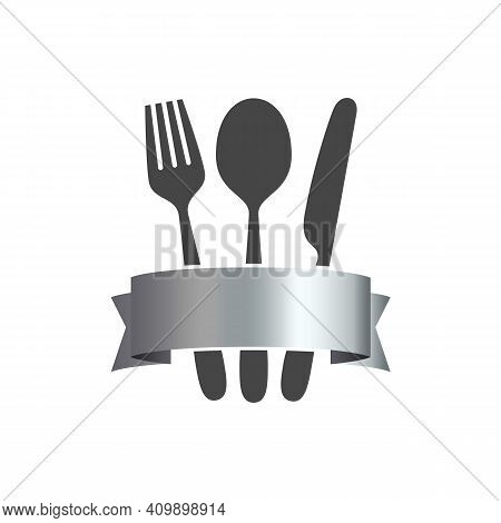 Cutlery Vector Icon. Fork, Knife, Tablespoon Sign. Food Emblem. Serving. Black Silhouette On White B