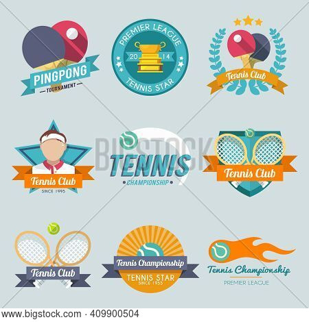Tennis Championship Pingpong Tournament Premiere League Label Set Isolated Vector Illustration