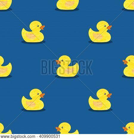 Yellow Rubber Ducks Vector Illustration. Seamless Pattern.