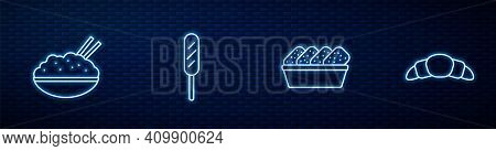 Set Line Chicken Nuggets In Box, Rice A Bowl With Chopstick, Corn Dog And Croissant. Glowing Neon Ic