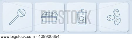Set Line Lollipop, Paper Glass With Straw, Chicken Nuggets In Box And . White Square Button. Vector