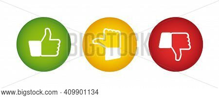 Feedback Buttons - Traffic Light Colors Red Yellow Green With Thumb Display