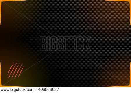 Abstract Esports Background Gamer Wallpaper Black Dark Battle Scarred In Carbon Style. Vector Illust