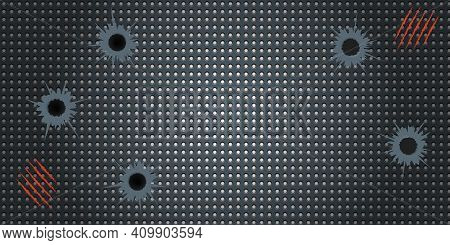 Abstract Game Esport Wallpaper With Bullet Holes. Dark Black Style With Red Claws Scarred Marks. Vec