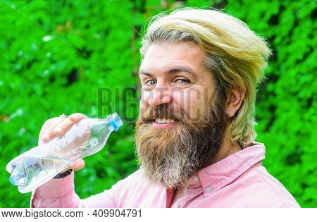 Bearded Man Drinking Water. Male With Bottle. Healthy Lifestyle. Drinks Water. Hydration Concept. St