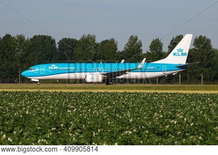 Amsterdam, Netherlands - July 3, 2017: Klm Royal Dutch Airlines Boeing 737-800 Ph-bxp Passenger Plan