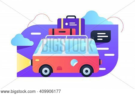 Travelling By Car Vector Illustration. Bright Red Truck With Luggage On Top Flat Style. Joyful Weeke