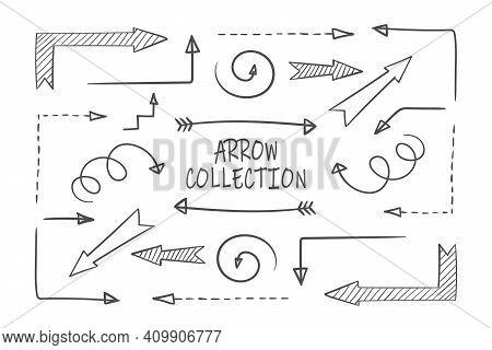Arrows. Grunge Arrows. Hand Drawn Arrows Big Set. Hand Drawn Pointing Arrow. Vector Illustration