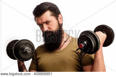 Sport And Training. Fitness Man With Dumbbells. Bearded Guy Making Weightlifting. Sportsman Working