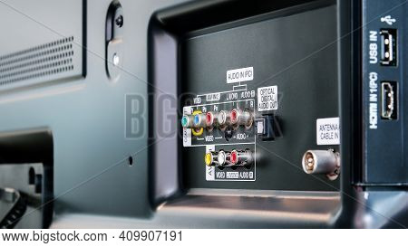 Connecting Panel To External Devices Input Output Video And Audio Signals Behind Of Led Television