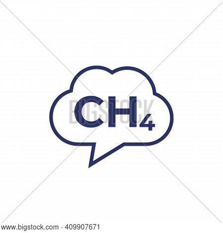Methane Emissions, Ch4 Gas Icon On White