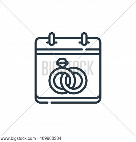 wedding day icon isolated on white background from calendar and date collection. wedding day icon th