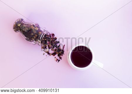 Tea Drink Made From Hibiscus, Dried Apple, Rose Hips With The Addition Of Orange Peel, Verbena, Drie