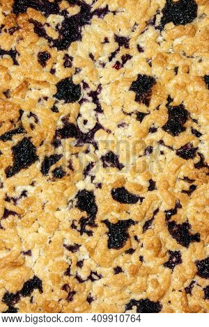 Sand Cake With Blueberries.blueberry Pie Background Top View.the Texture Of A Shortbread Blueberry P