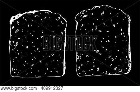 Food Product Sketch Contour On A Realistic Sketch Isolated . Set Of Vector Drawing Of A Crunchy Piec