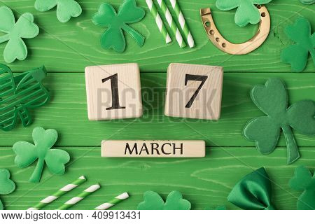 Happy St Patrick's Day Concept. Top Above Overhead Close Up Flatlay View Photo Picture Of Wooden Cub