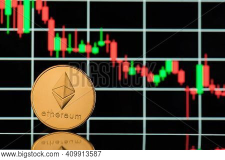 Bitcoin Rate Falling Concept. Close Up Photo Of Golden Shining Bitcoin With Green And Red Candle Gra