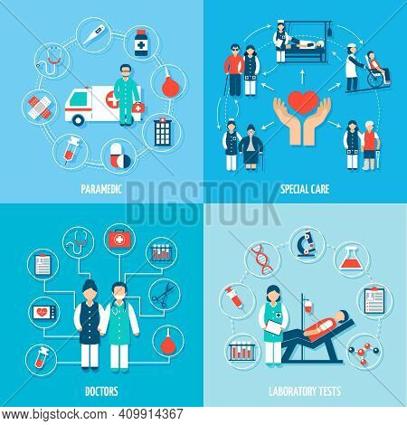 Medical Personnel Set With Paramedic Special Care Doctors And Laboratory Tests Isolated Vector Illus