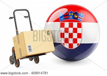 Parcel On The Hand Truck With Croatian Flag. Shipping In Croatia, Concept. 3d Rendering Isolated On