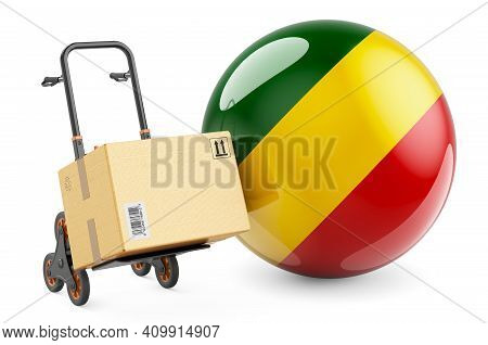 Parcel On The Hand Truck With Congo Flag. Shipping In Congo, Concept. 3d Rendering Isolated On White