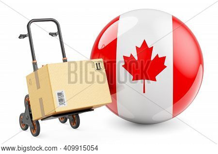 Parcel On The Hand Truck With Canadian Flag. Shipping In Canada, Concept. 3d Rendering Isolated On W