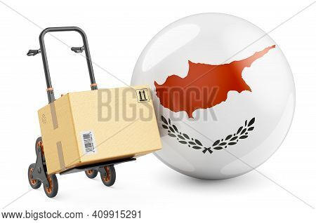 Parcel On The Hand Truck With Cyprus Flag. Shipping In Cyprus Concept. 3d Rendering Isolated On Whit