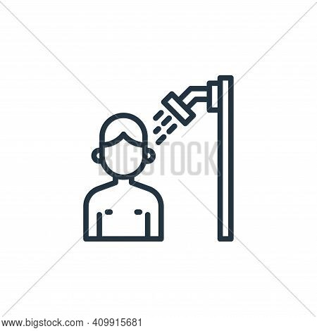 showering icon isolated on white background from coronavirus collection. showering icon thin line ou