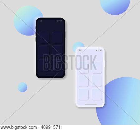 Mockup Phone For Ui Interface. Set Of Two Mobiles In Neomorphism Design Style With Circles. Realisti